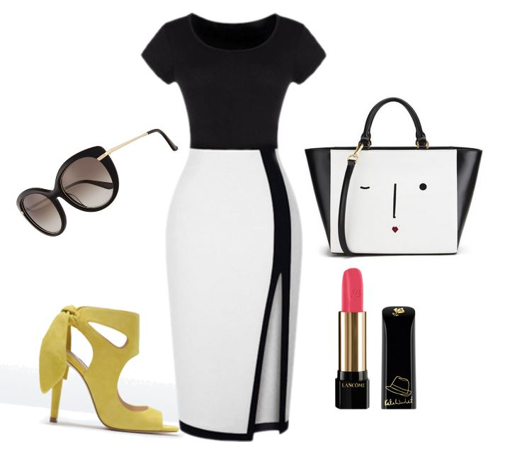 black and white dress with yellow sandals