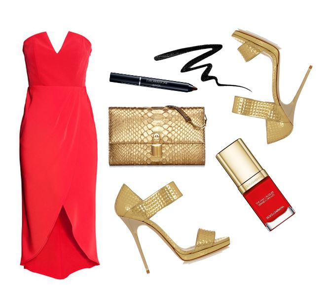 red dress and gold sandals