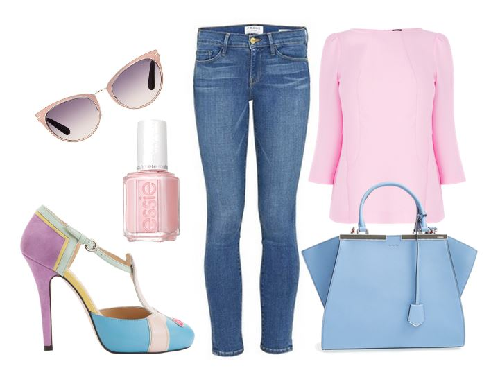 jeans with pink top and multicoloured shoes