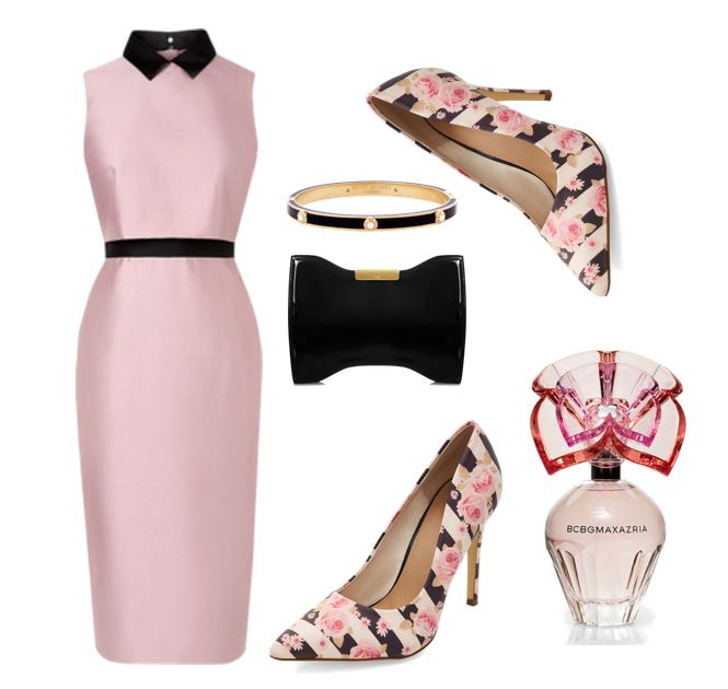 pink dress with floral print shoes