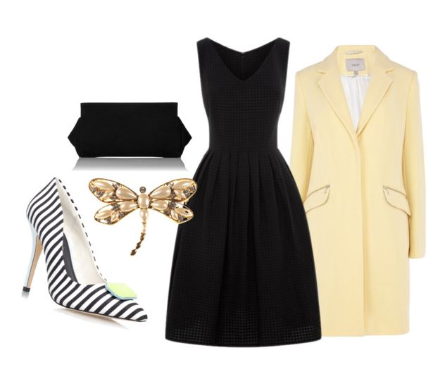 outfit featuring black dress and yellow coat
