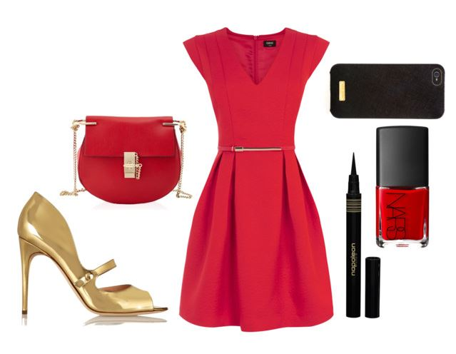outfit featuring red dress and gold high  heels