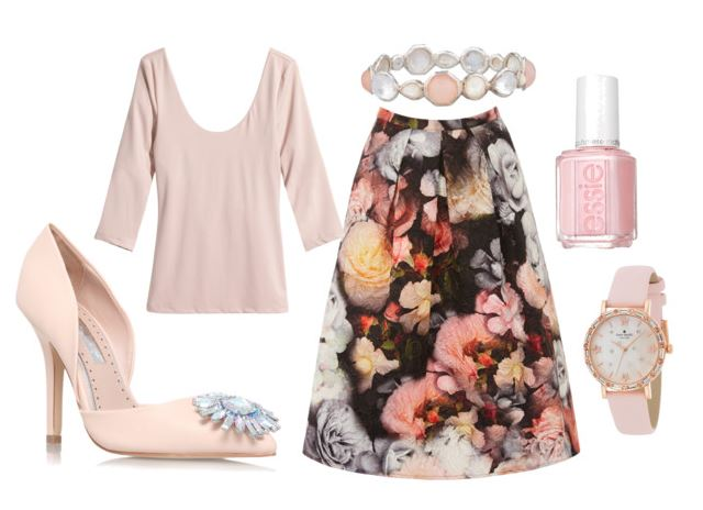 outfit featuring floral midi skirt and pink pumps