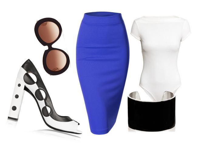 outfit featuring blue pencil skirt and two -tone peep toes