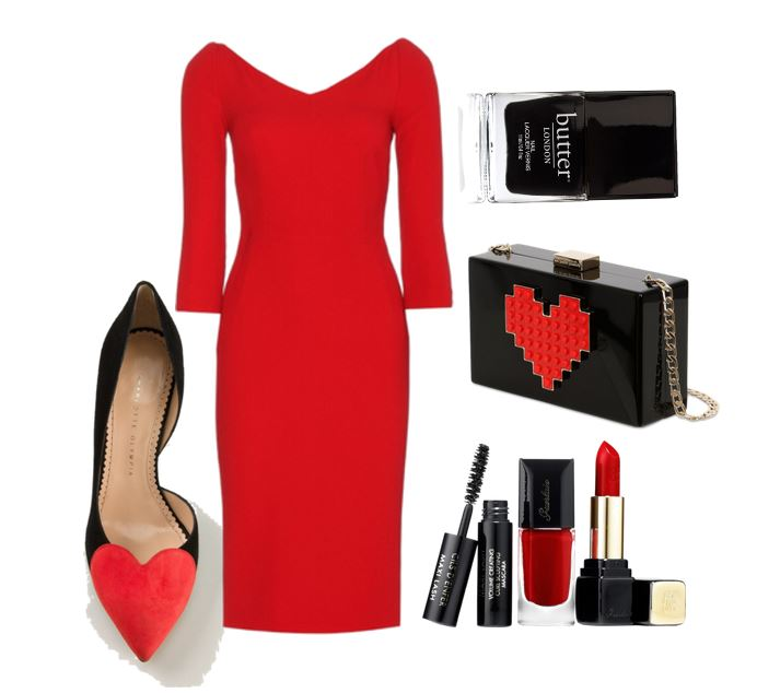 outfit consisting of red dress and heart front shoes