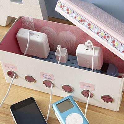 use old shoe boxes to tidy up your cables