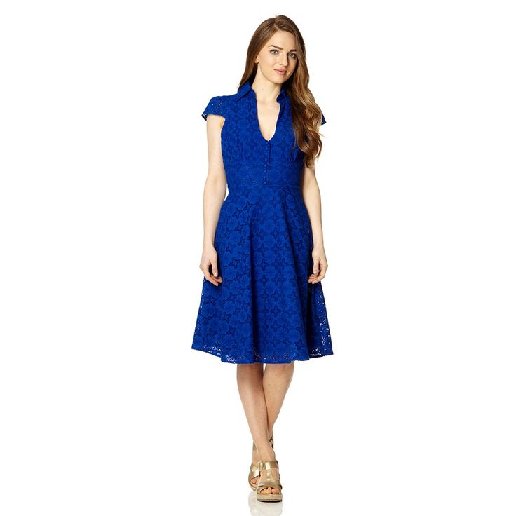 Sahara Lace Crochet Tea Dress Sapphire