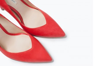 Zara red high heeled court shoes with sweetheart vamp