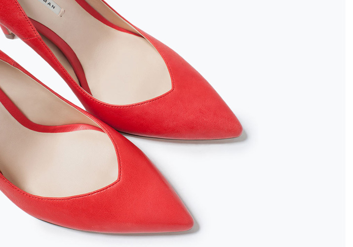 a80c4ca0926 Zara red high heeled court shoes with sweetheart vamp