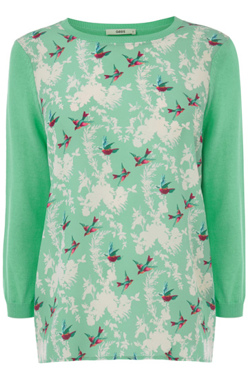 Oasis shadow bird woven front top