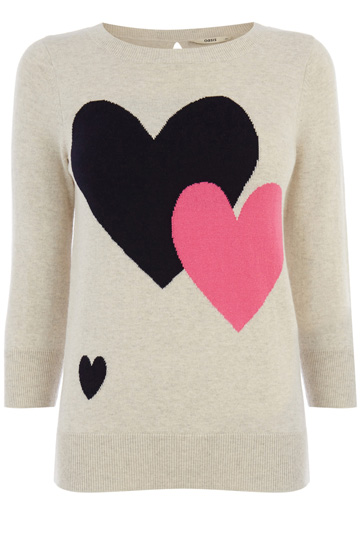 Oasis double-heart jumper