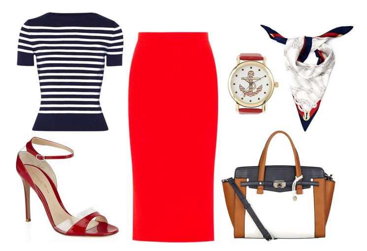 nautical outfit featuring red pencil skirt and heels