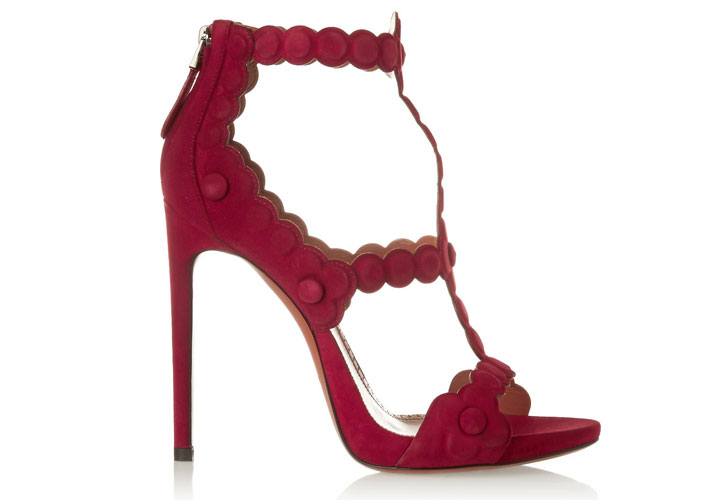 Alaia Red Shoes Alaa red laser cut suede