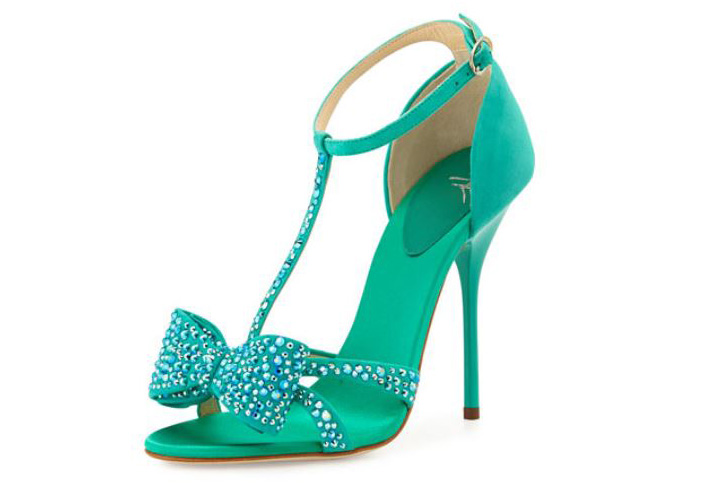 c187c9c3a7d Giuseppe Zanotti green suede crystal bow sandals