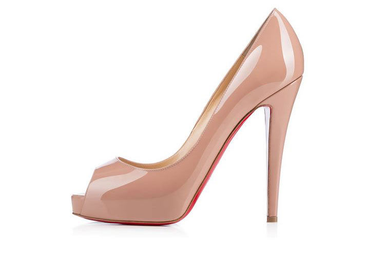 2620090f1855 Christian Louboutin Very Prive 120 nude patent peep toes