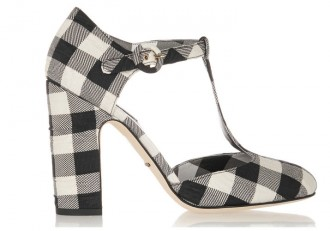 Dolce & Gabbana gingham brocade T-bar pumps