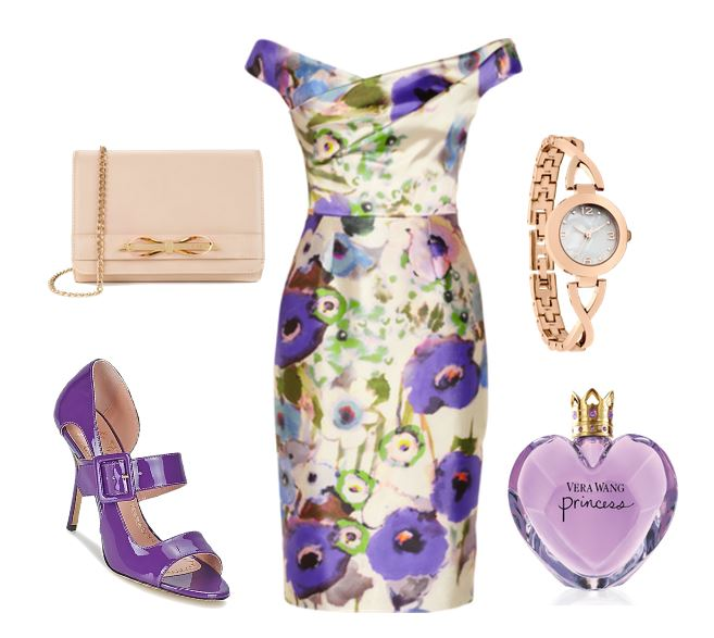purple sandals and floral dress