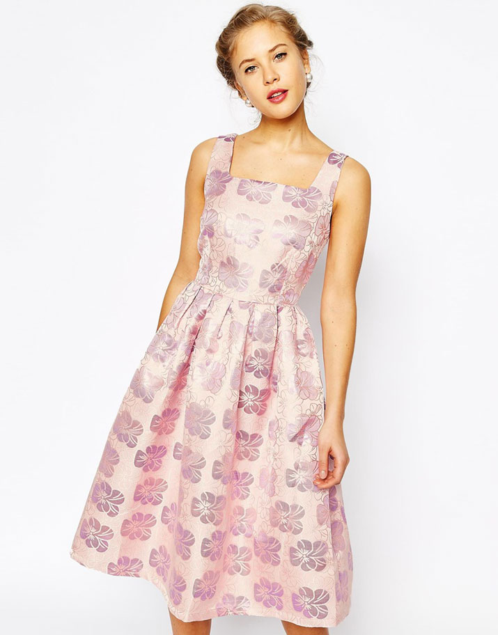 True Decadence Floral Jacquard Pleated Midi Skater Dress