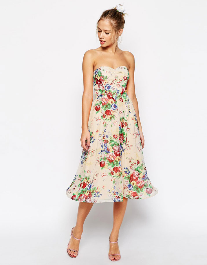 Dress of the Day | ASOS Wiggle Hem Bandeau Dress in Floral Print