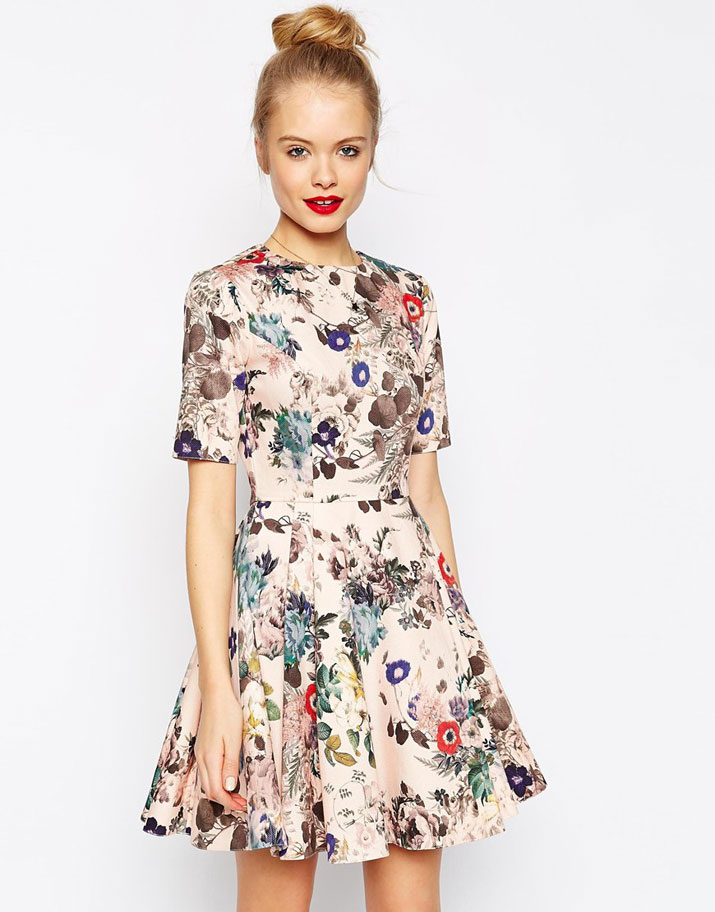 ASOS Structured Skater Dress in Texture in Floral Print