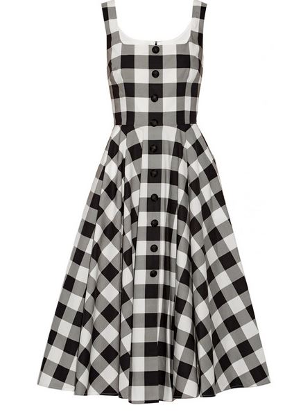 black and white gingham print dress