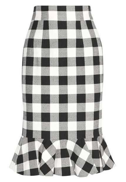 black and white gingham pencil skirt