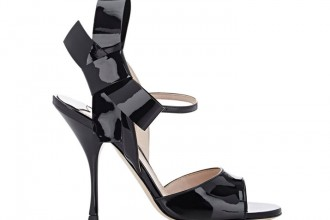 Miu Miu black patent bow sandals