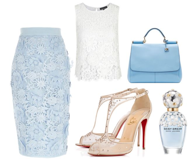 Christian Louboutin shoes and blue lace skirt