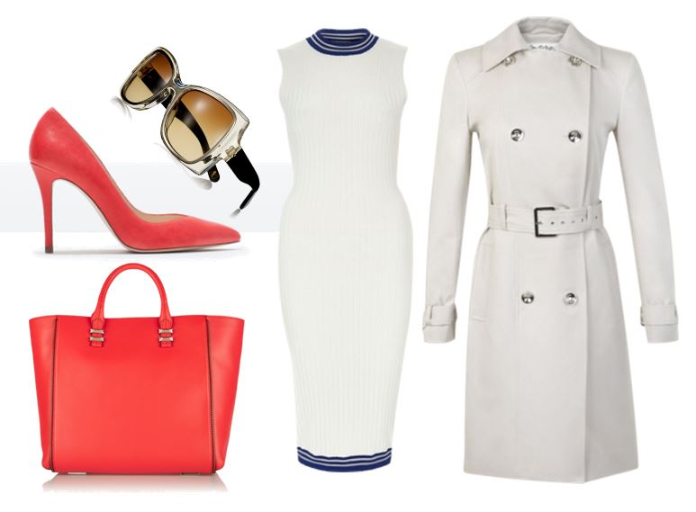 outfit featuring white dress and red high heeled shoes