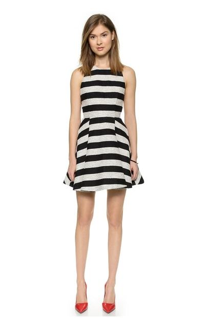 black and white stripe mini dress