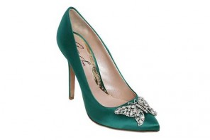 Aruna Seth green satin crystal butterfly pumps