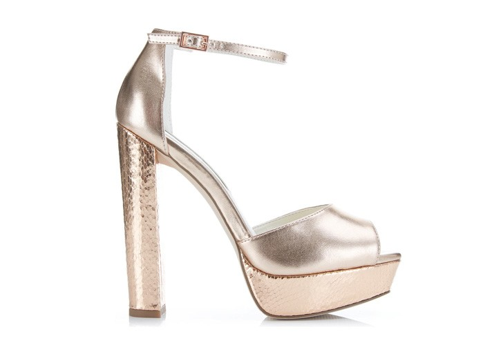Miss Selfridge 'Cavendish' rose gold slingbacks