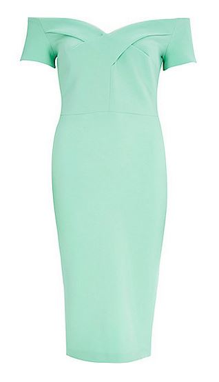 green bardot dress