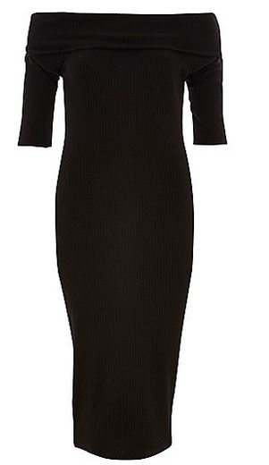 black ribbed bardot dress