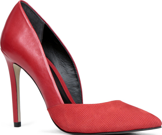 red pointed high heels