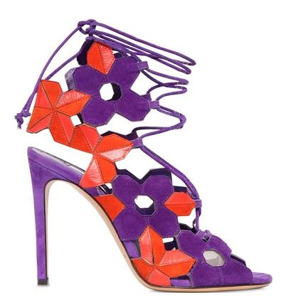 Casadei purple and red cage sandals