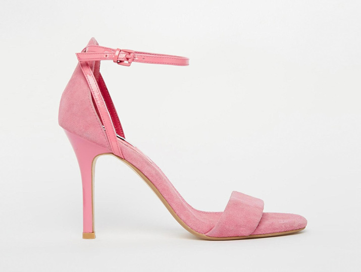 pink suede high heel sandals