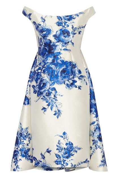 Lela Rose Floral-print wool and silk-blend dress