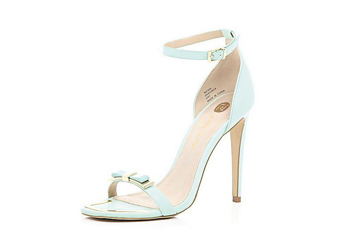River Island mint green bow barely-there sandals
