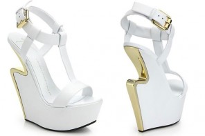 Shoe of the Day | Giuseppe Zanotti Metal-Trimmed Cutout-Wedge Leather Sandals