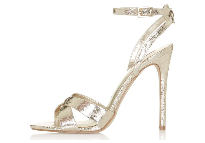 Topshop 'Rumour' gold cross-strap sandals