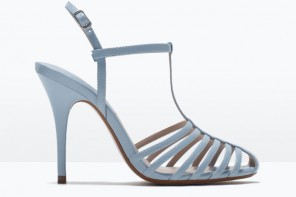 Zara pale blue cage sandals