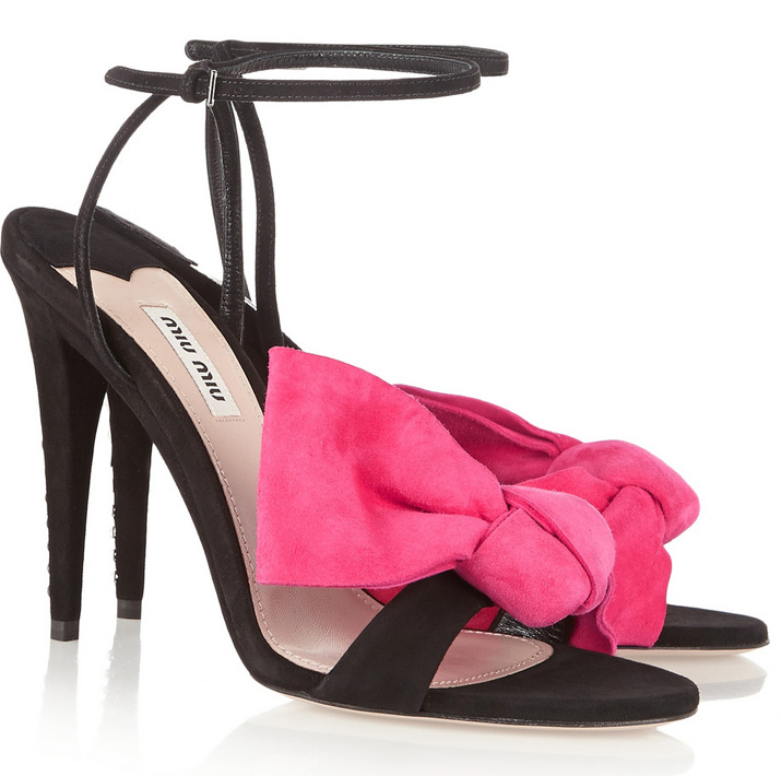 Miu Miu bow-embellished suede sandals