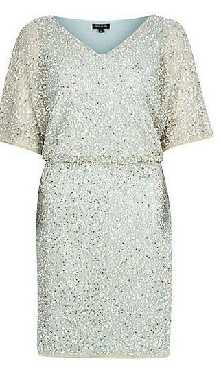 light gren sequin embellished dress