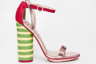 ASOS WALLS TWISTER Leather Mix Heeled Sandals