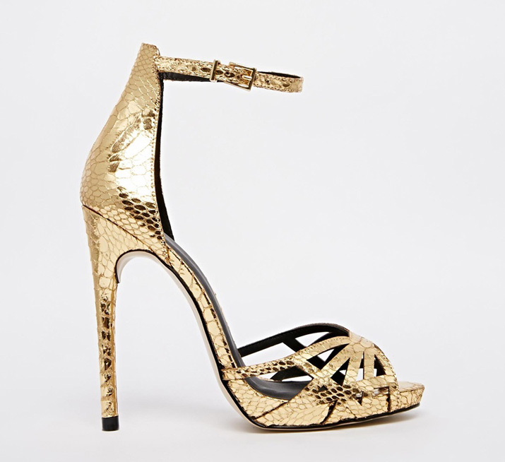 ASOS Harpist Gold Heeled Sandals > Shoeperwoman