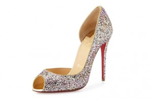 Christian Louboutin Demi You Glittered Peep Toes