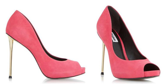 Dune 'Desiree' pink suede peep toes with metal heel