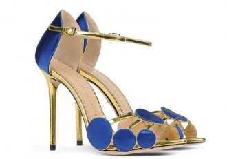 Charlotte Olympia blue and gold sandals