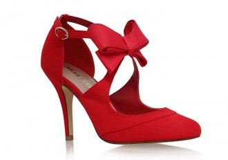 Miss KG 'Belle' red court shoes with bow
